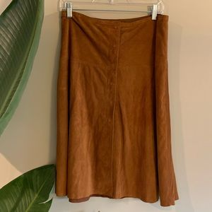 Theory Sienna Brown Paneled Leather Snap Skirt 8